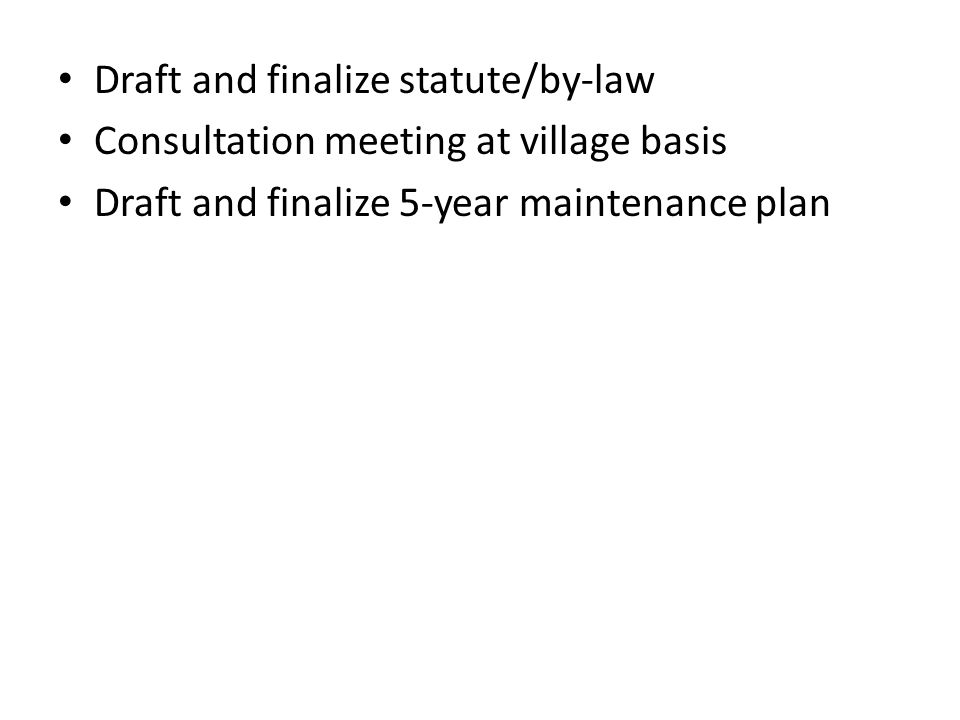 Draft and finalize statute/by-law