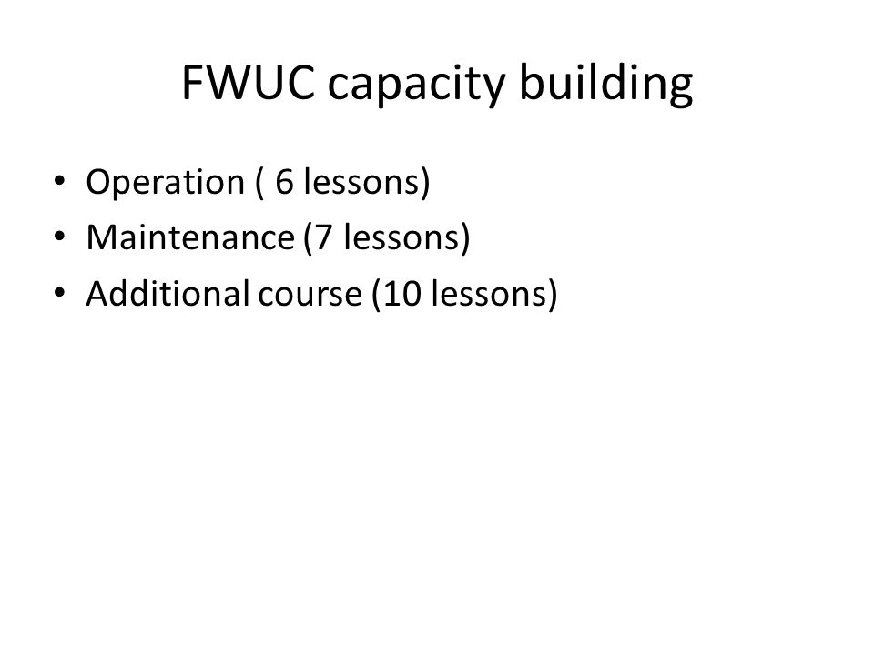 FWUC capacity building