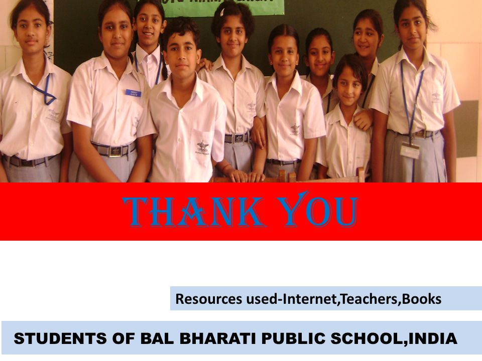 THANK YOU Resources used-Internet,Teachers,Books