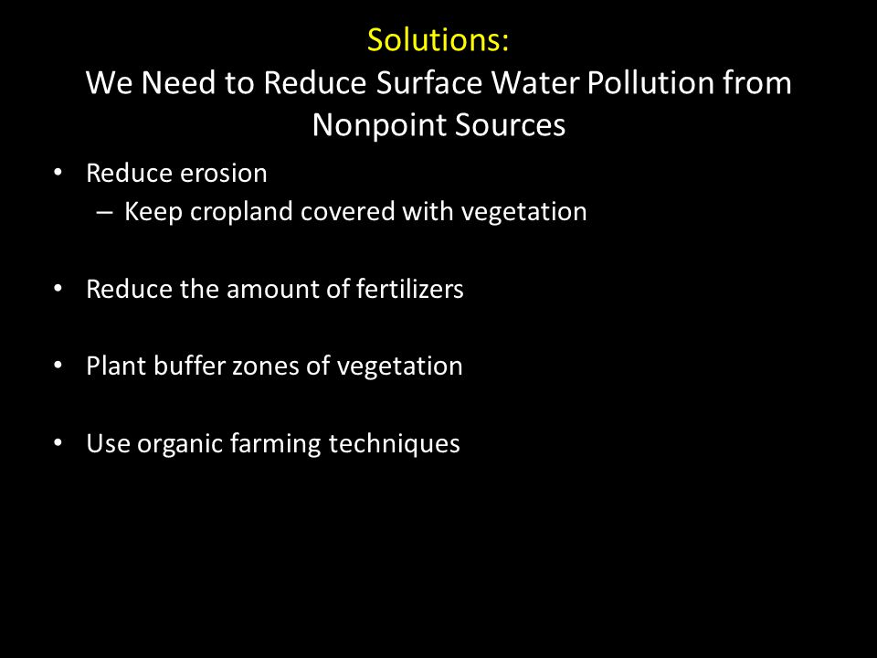 Solutions: We Need to Reduce Surface Water Pollution from Nonpoint Sources