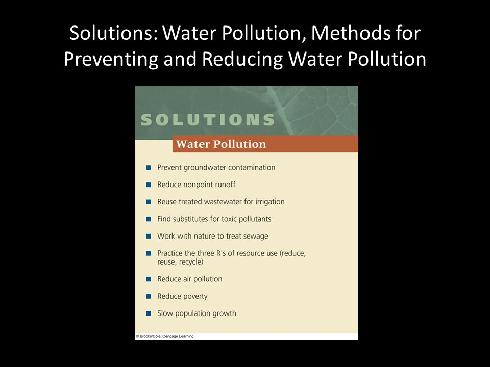 Solutions: Water Pollution, Methods for Preventing and Reducing Water Pollution