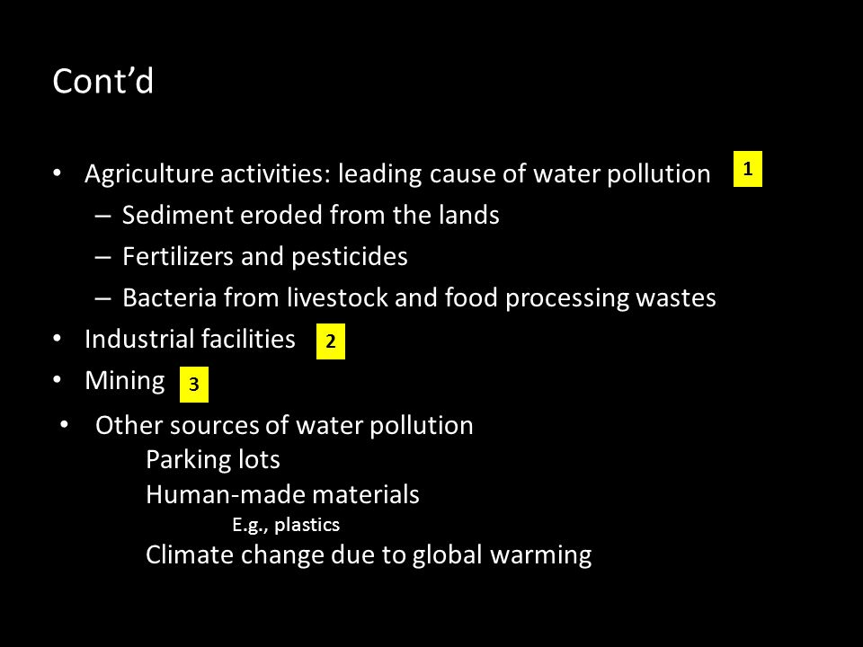 Cont'd Agriculture activities: leading cause of water pollution