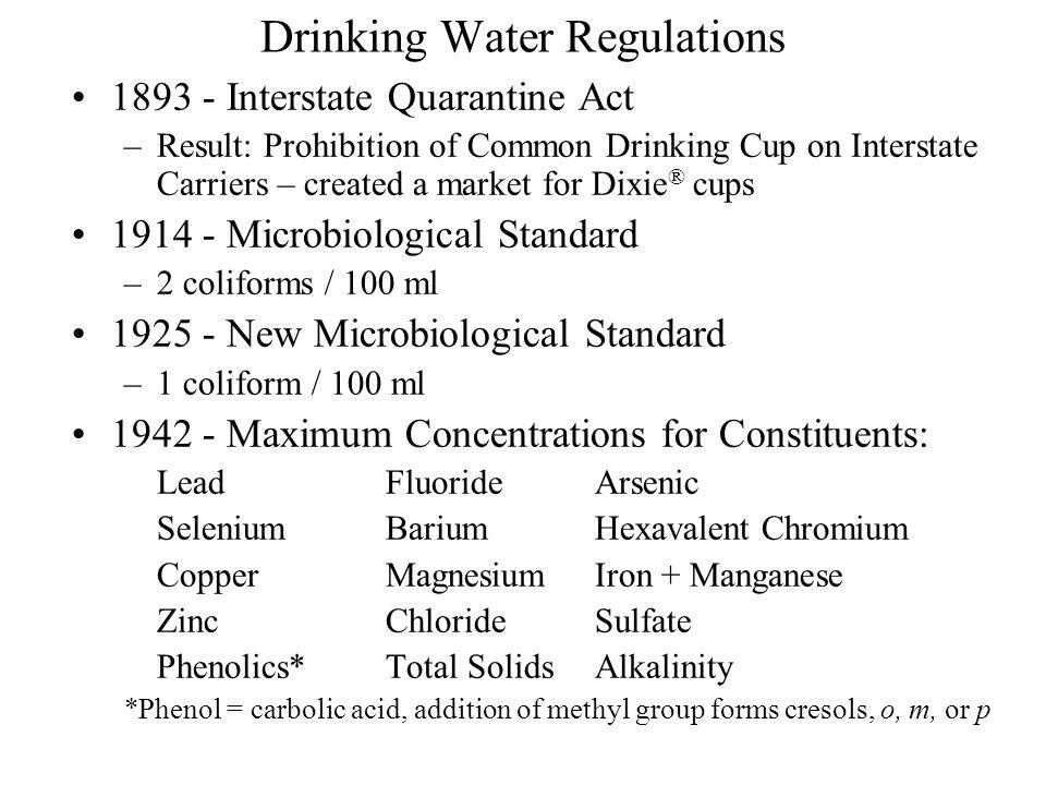 Drinking Water Regulations