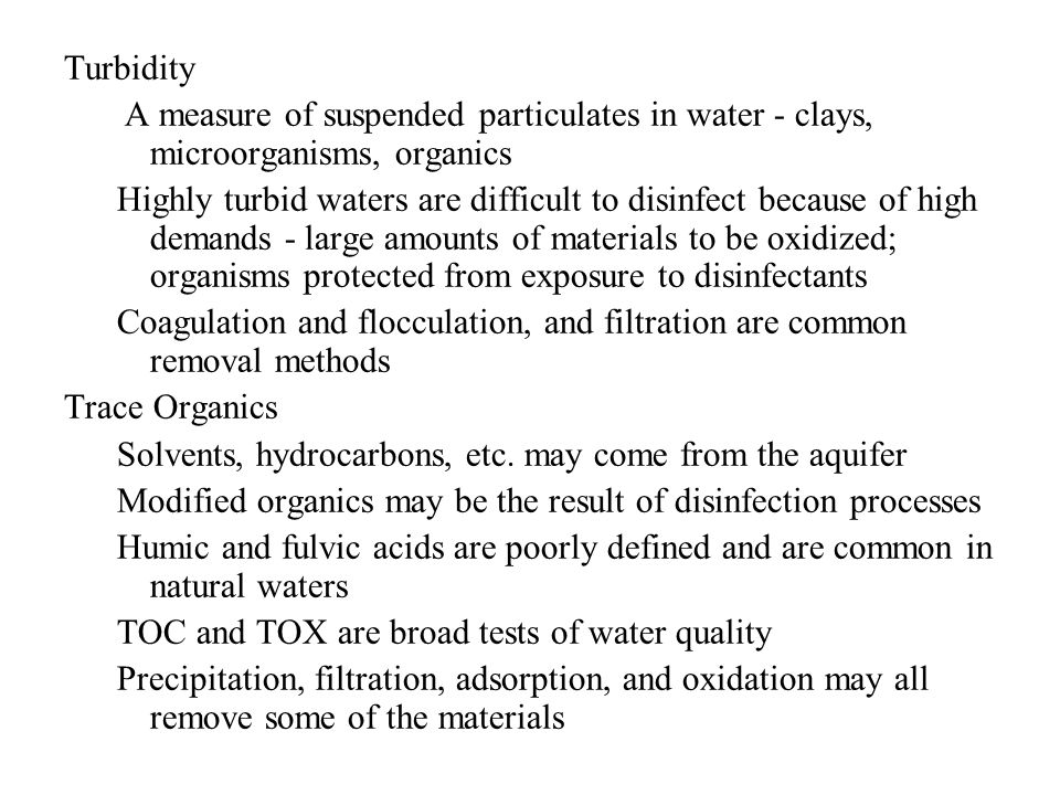 Solvents, hydrocarbons, etc. may come from the aquifer