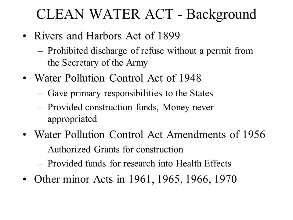 CLEAN WATER ACT - Background