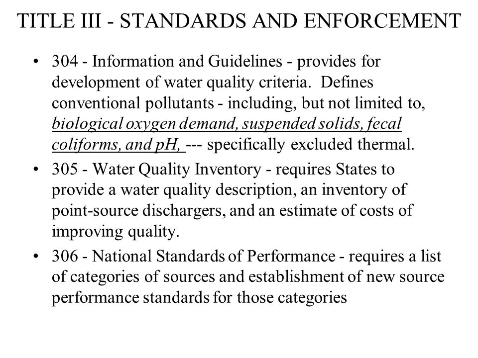 TITLE III - STANDARDS AND ENFORCEMENT