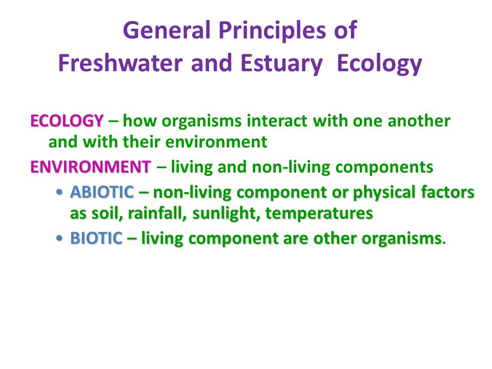 General Principles of Freshwater and Estuary Ecology