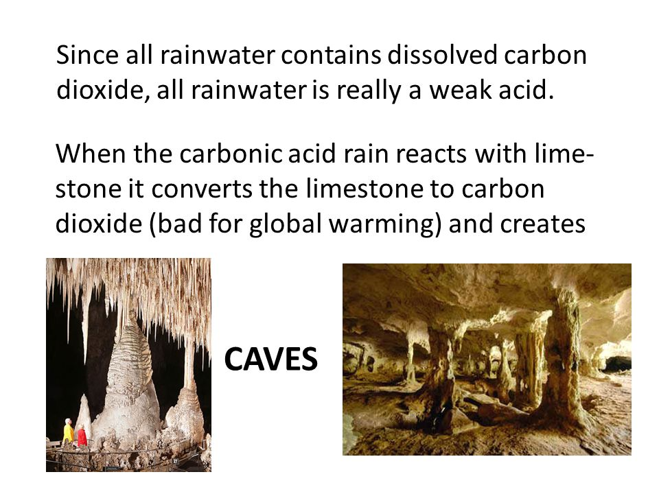 CAVES Since all rainwater contains dissolved carbon