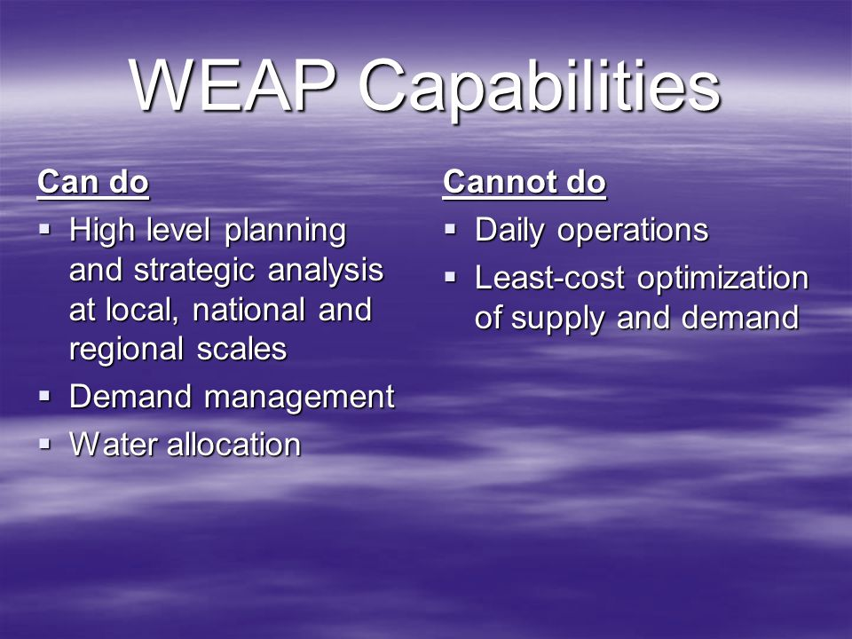 WEAP Capabilities Can do