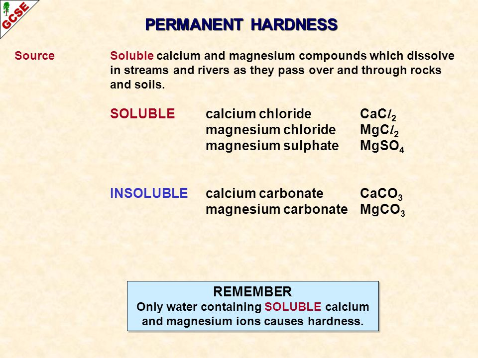 PERMANENT HARDNESS magnesium chloride MgCl2 magnesium sulphate MgSO4