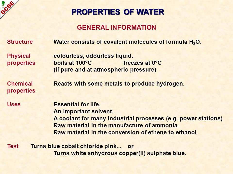 PROPERTIES OF WATER GENERAL INFORMATION
