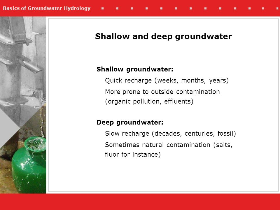 Shallow and deep groundwater