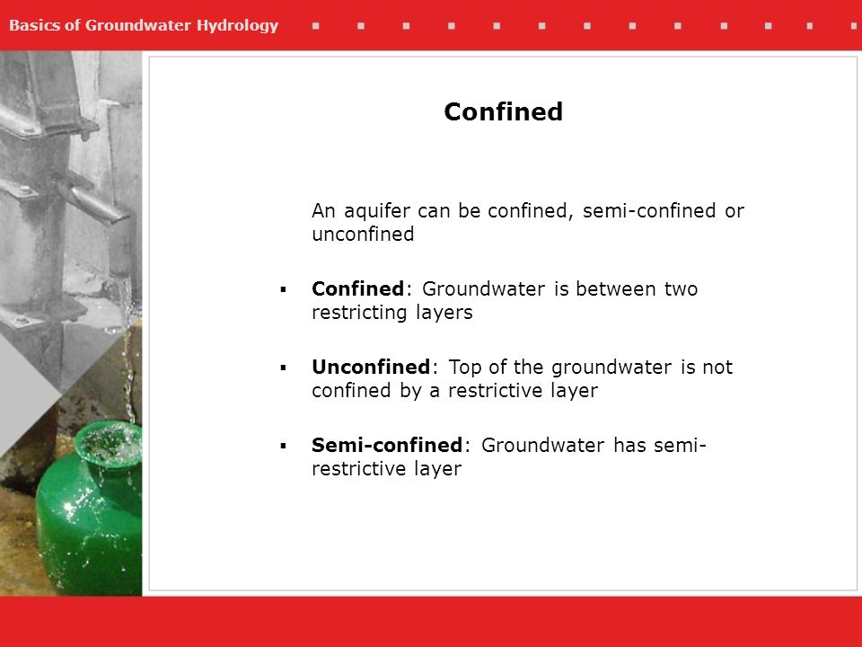 Confined An aquifer can be confined, semi-confined or unconfined