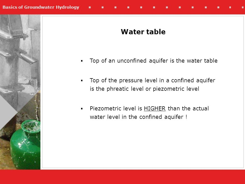 Water table Top of an unconfined aquifer is the water table
