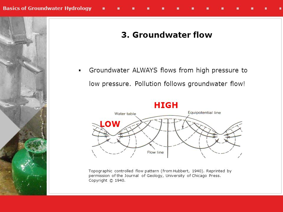 3. Groundwater flow HIGH LOW