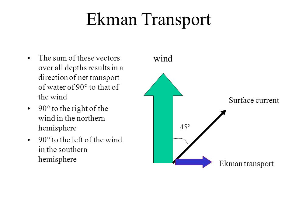 Ekman Transport The sum of these vectors over all depths results in a direction of net transport of water of 90° to that of the wind.