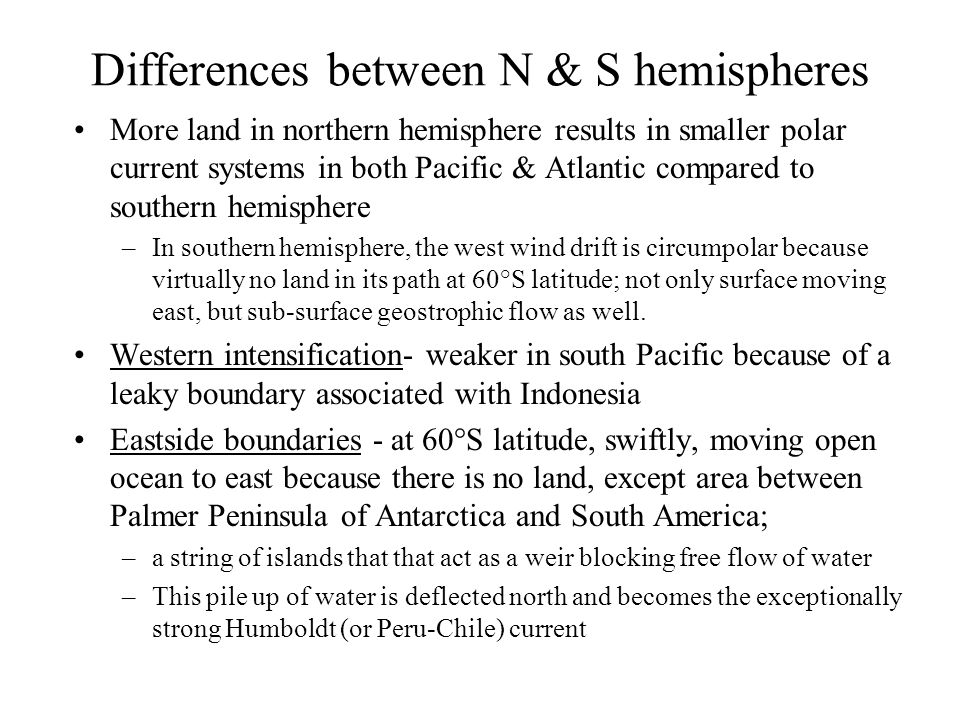 Differences between N & S hemispheres