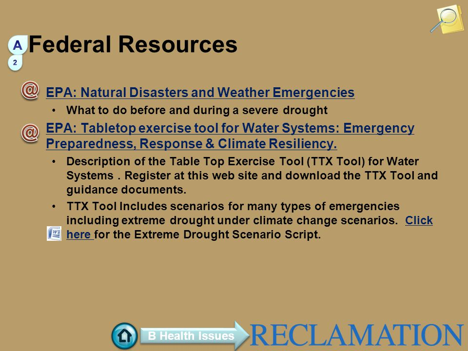 Federal Resources A EPA: Natural Disasters and Weather Emergencies
