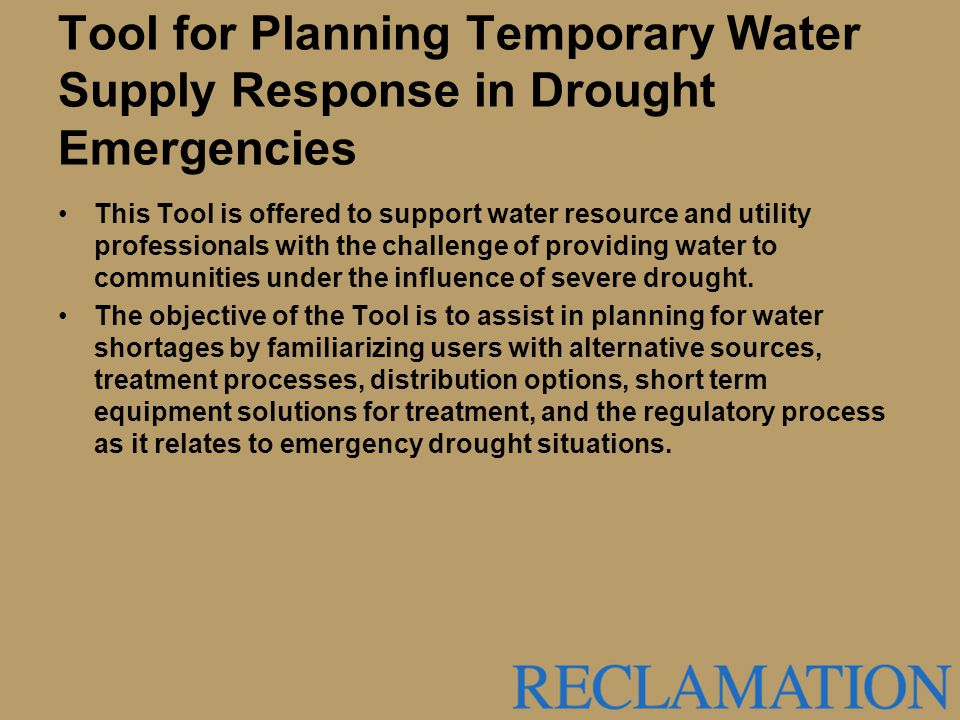 Tool for Planning Temporary Water Supply Response in Drought Emergencies