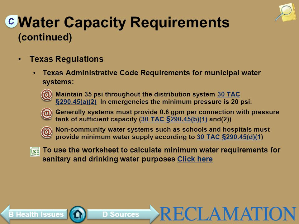 Water Capacity Requirements (continued)