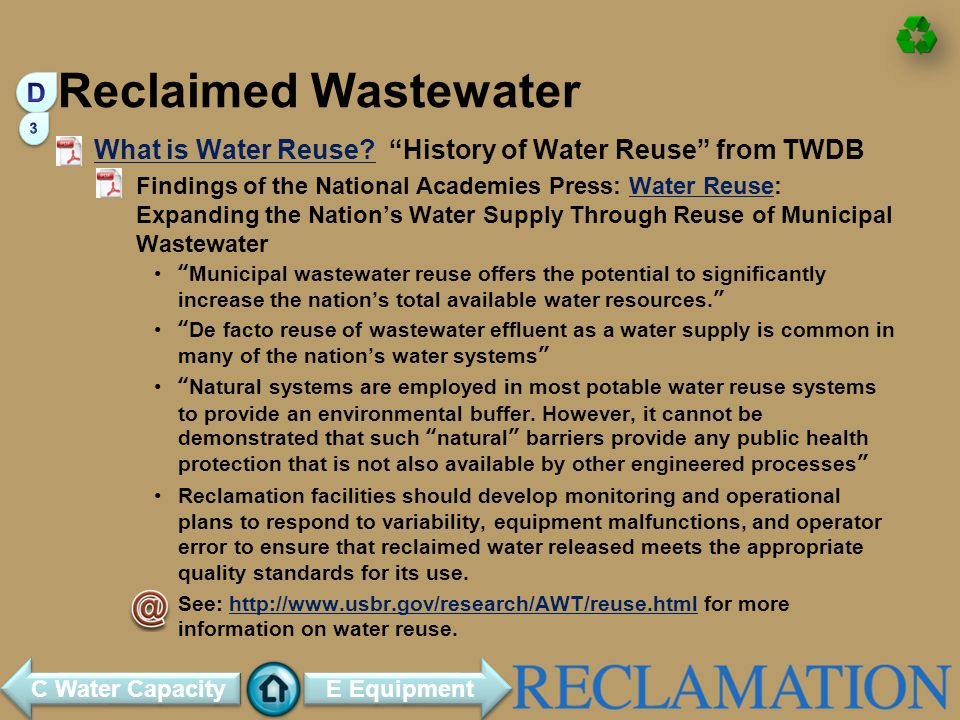 Reclaimed Wastewater D