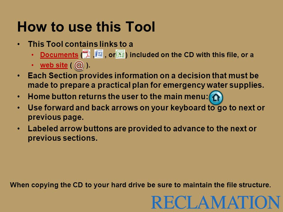 How to use this Tool This Tool contains links to a