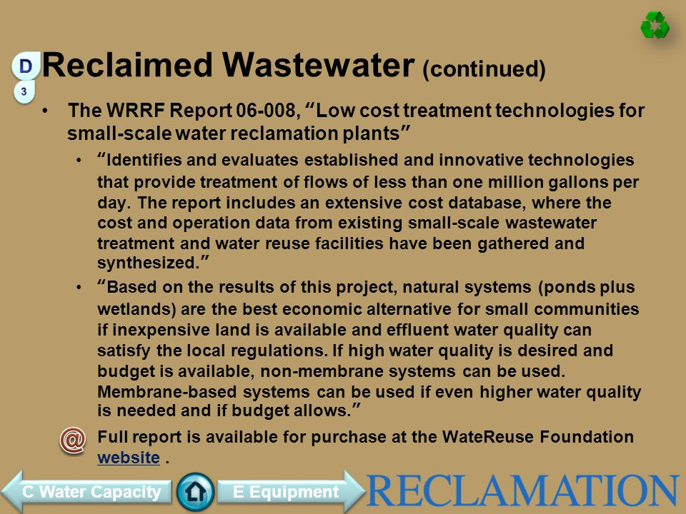 Reclaimed Wastewater (continued)