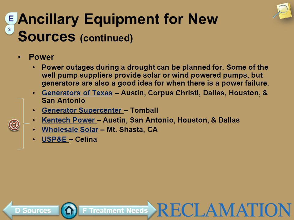 Ancillary Equipment for New Sources (continued)