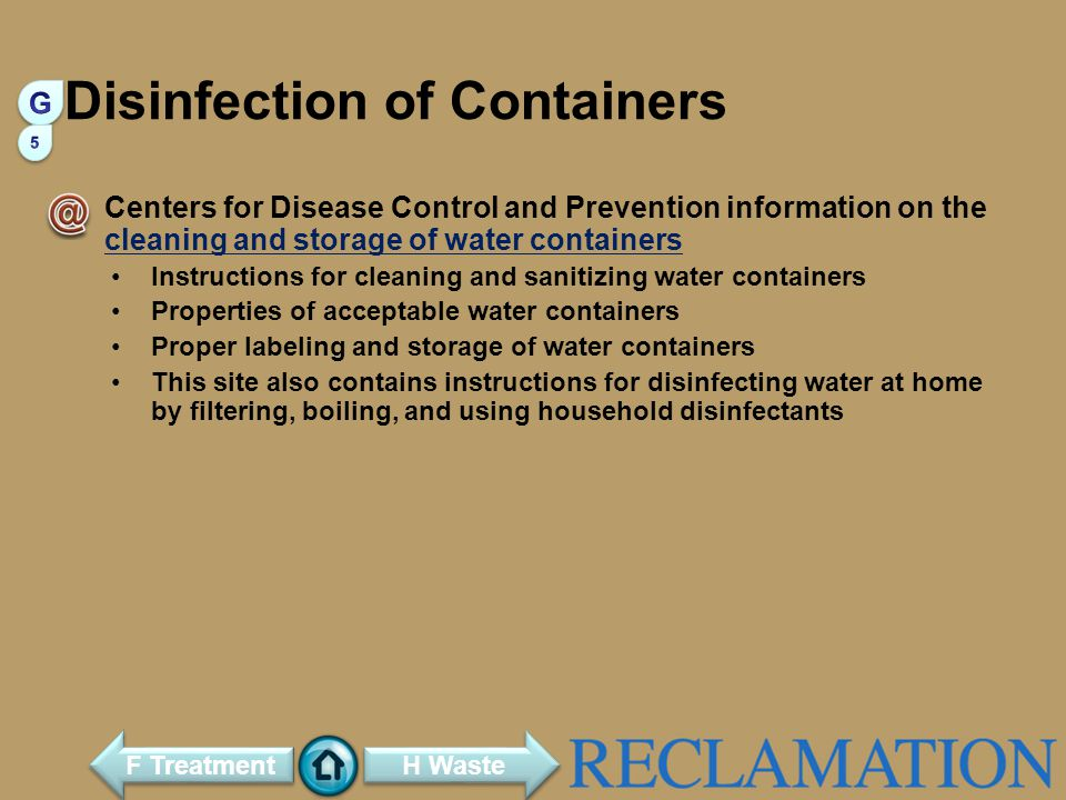 Disinfection of Containers