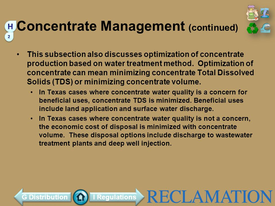 Concentrate Management (continued)
