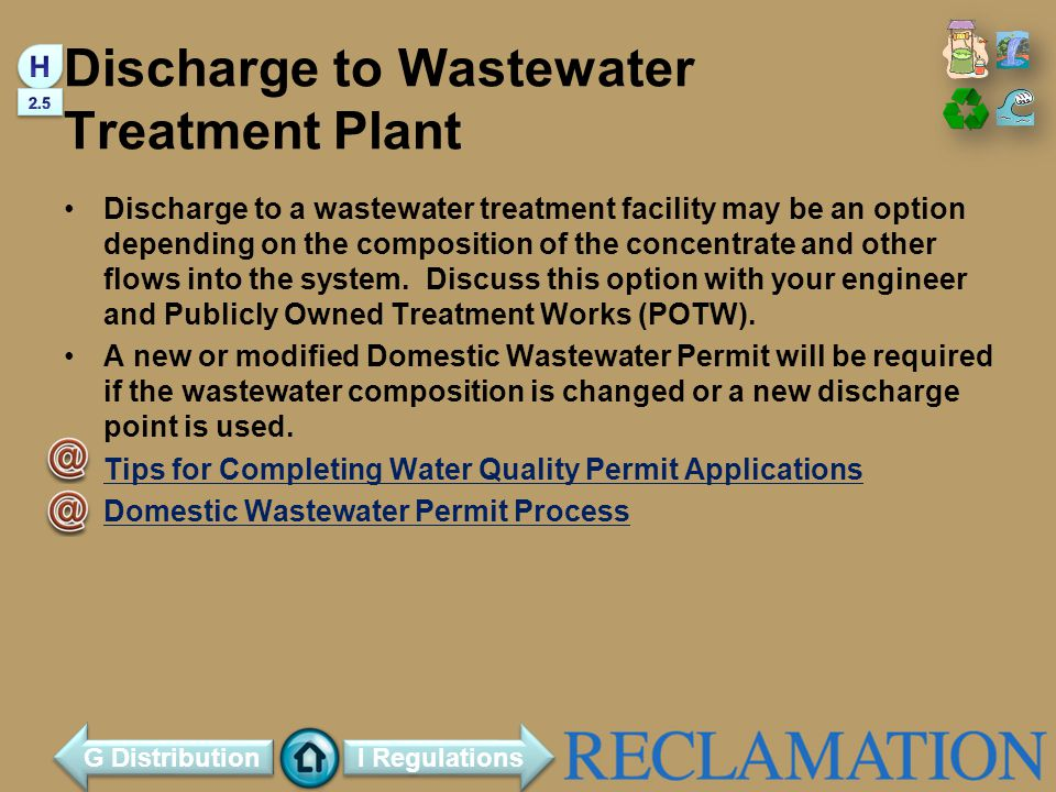 Discharge to Wastewater Treatment Plant