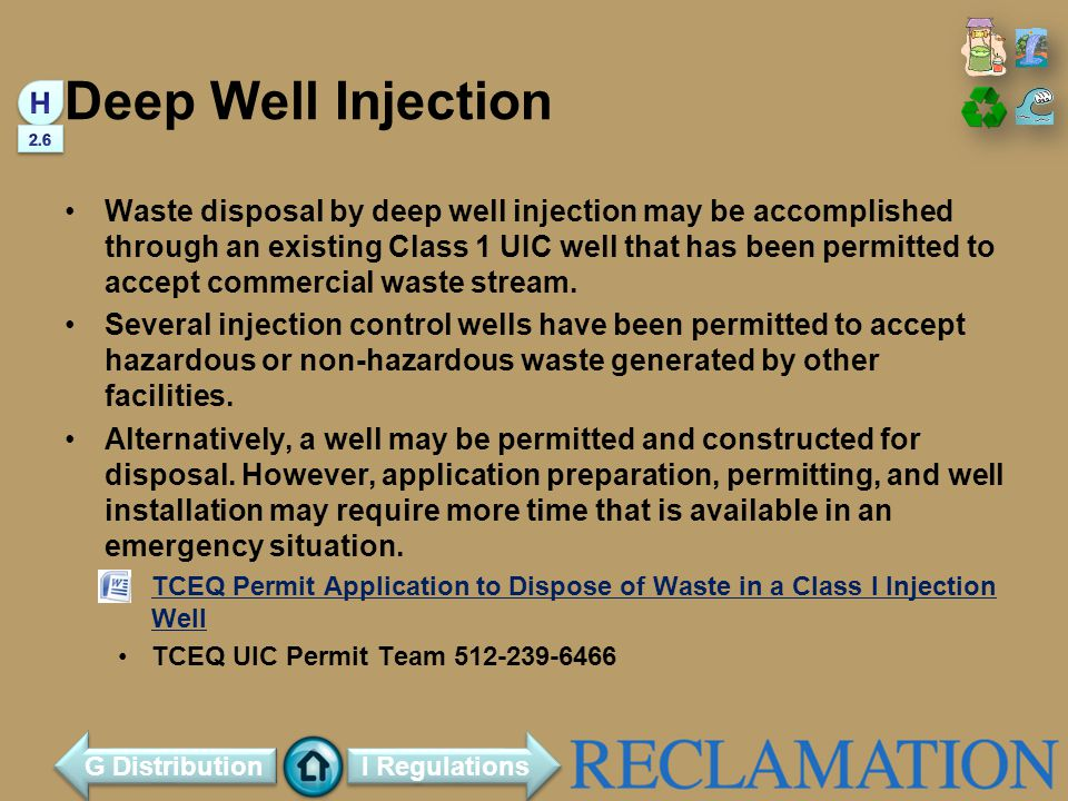 Deep Well Injection H. 2.6.