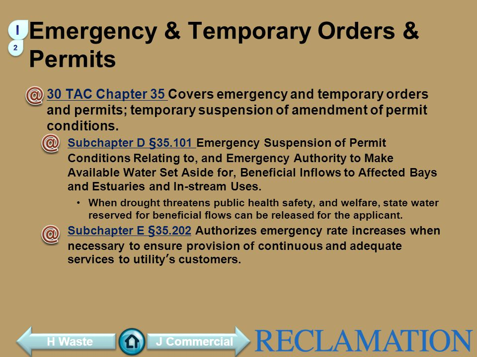 Emergency & Temporary Orders & Permits
