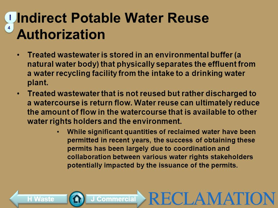 Indirect Potable Water Reuse Authorization