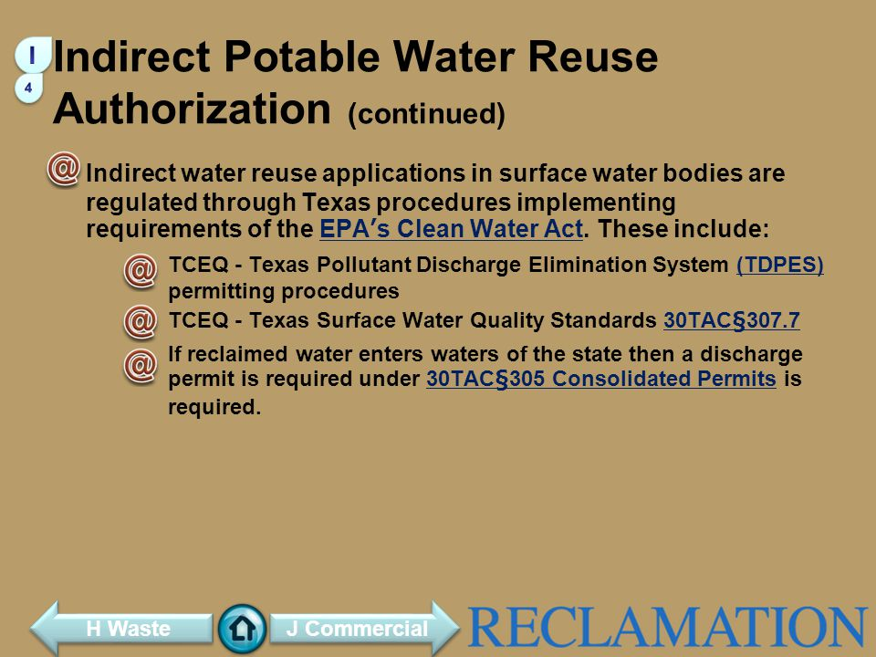 Indirect Potable Water Reuse Authorization (continued)