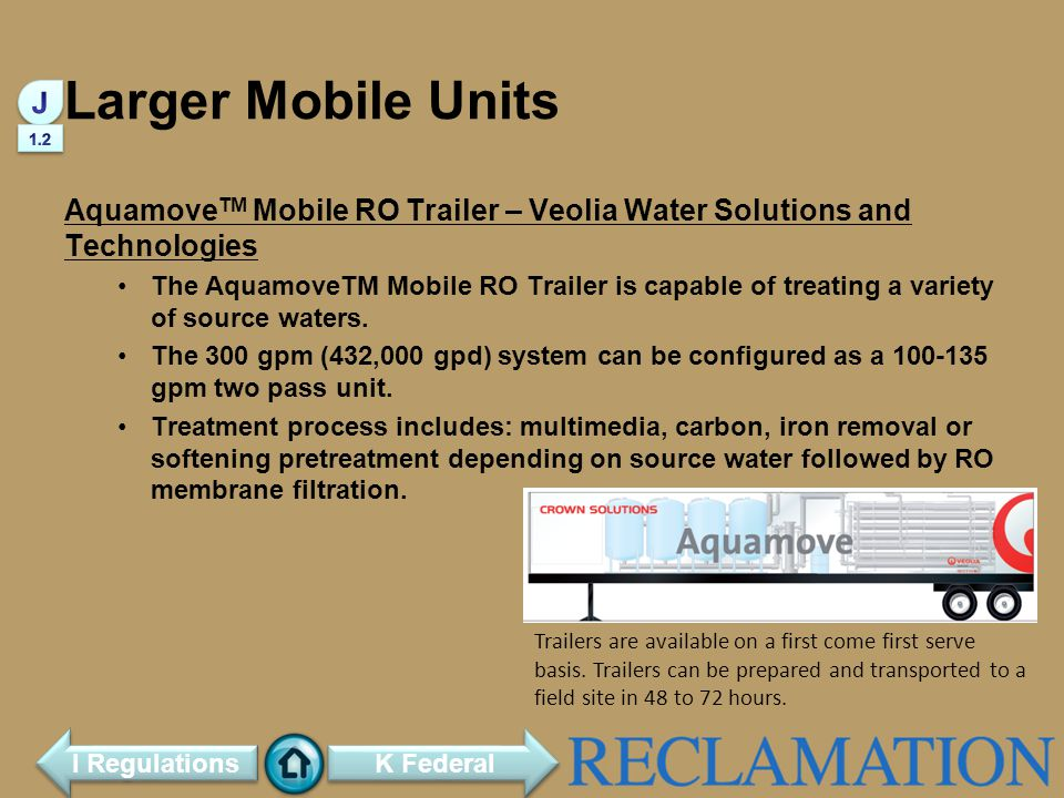 Larger Mobile Units J. 1.2. AquamoveTM Mobile RO Trailer – Veolia Water Solutions and Technologies.