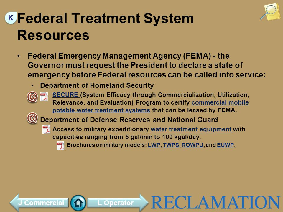 Federal Treatment System Resources