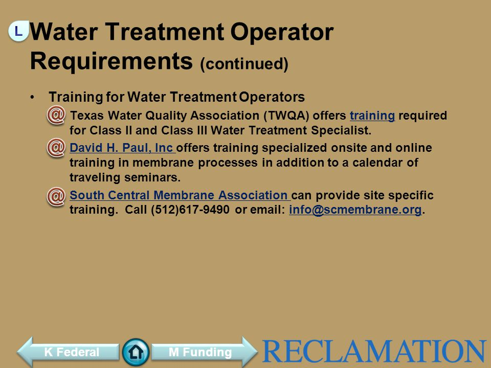 Water Treatment Operator Requirements (continued)