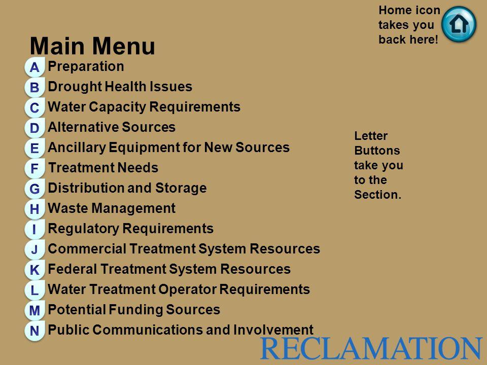 Main Menu A Preparation Drought Health Issues B
