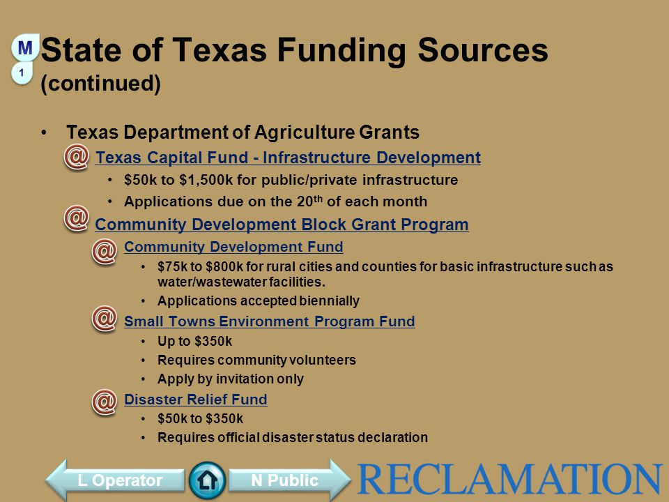 State of Texas Funding Sources (continued)