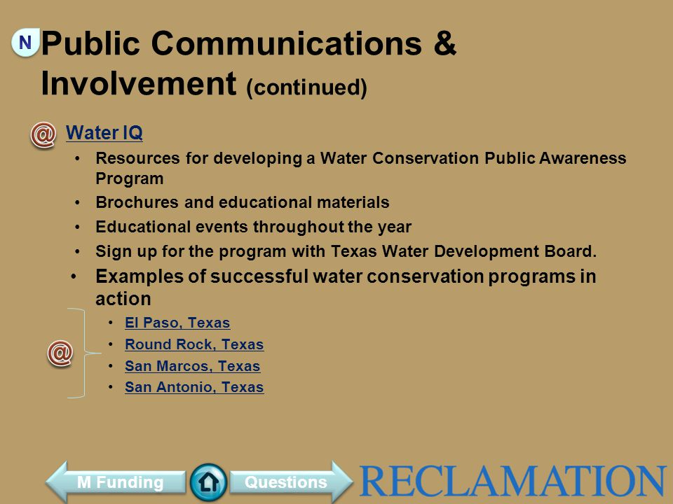 Public Communications & Involvement (continued)