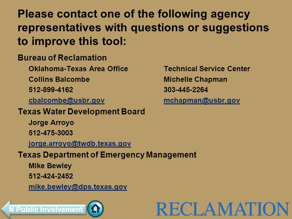 Please contact one of the following agency representatives with questions or suggestions to improve this tool: