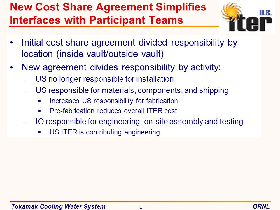 New Cost Share Agreement Simplifies Interfaces with Participant Teams