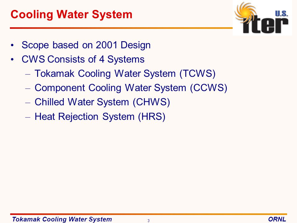 Cooling Water System Scope based on 2001 Design