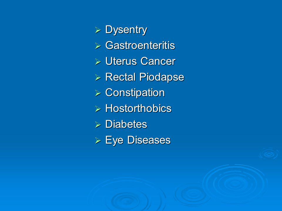 Dysentry Gastroenteritis. Uterus Cancer. Rectal Piodapse. Constipation. Hostorthobics. Diabetes.