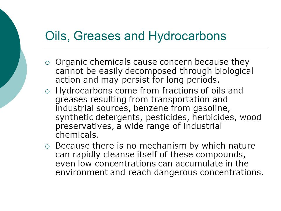 Oils, Greases and Hydrocarbons