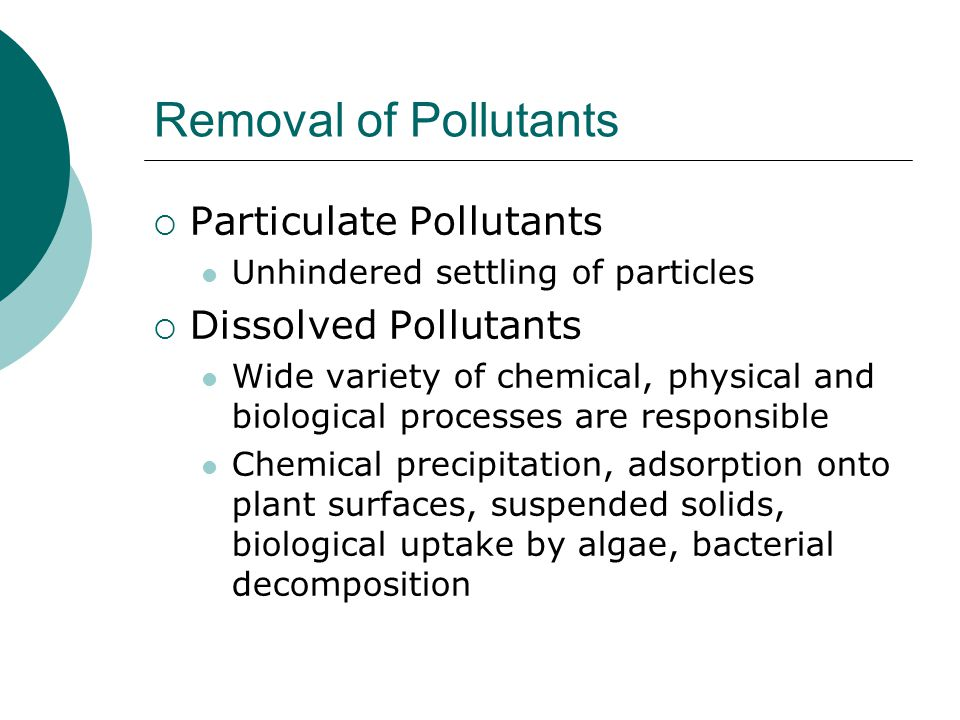 Removal of Pollutants Particulate Pollutants Dissolved Pollutants
