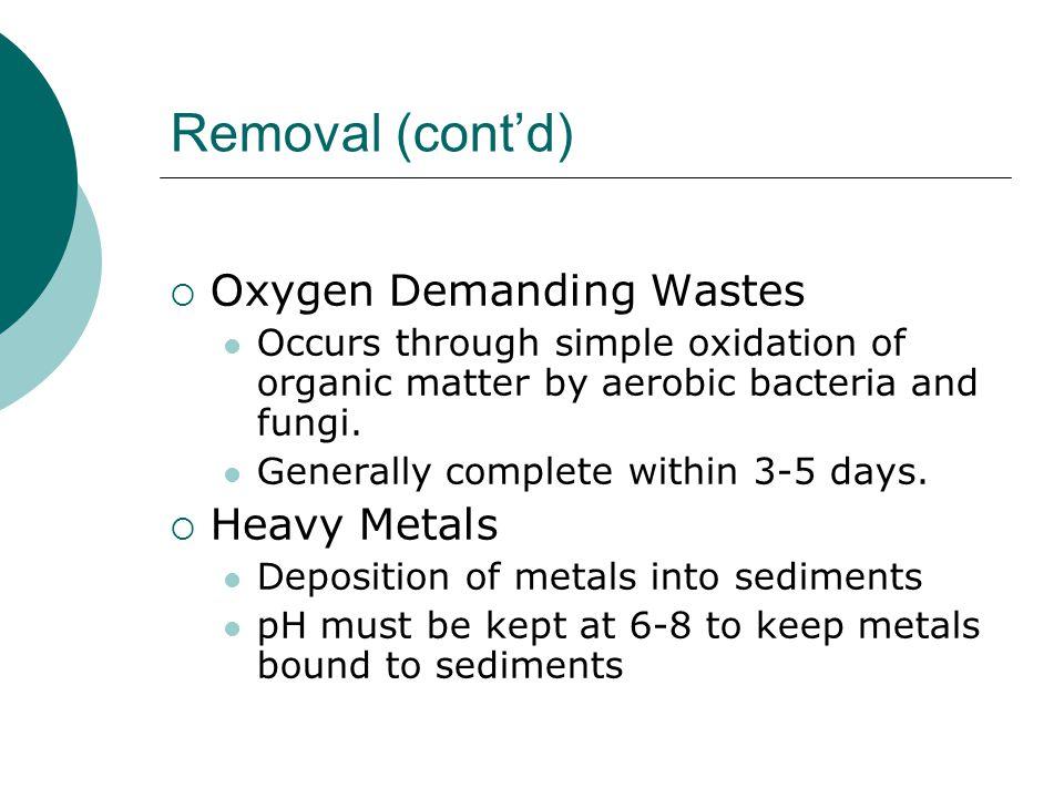 Removal (cont'd) Oxygen Demanding Wastes Heavy Metals