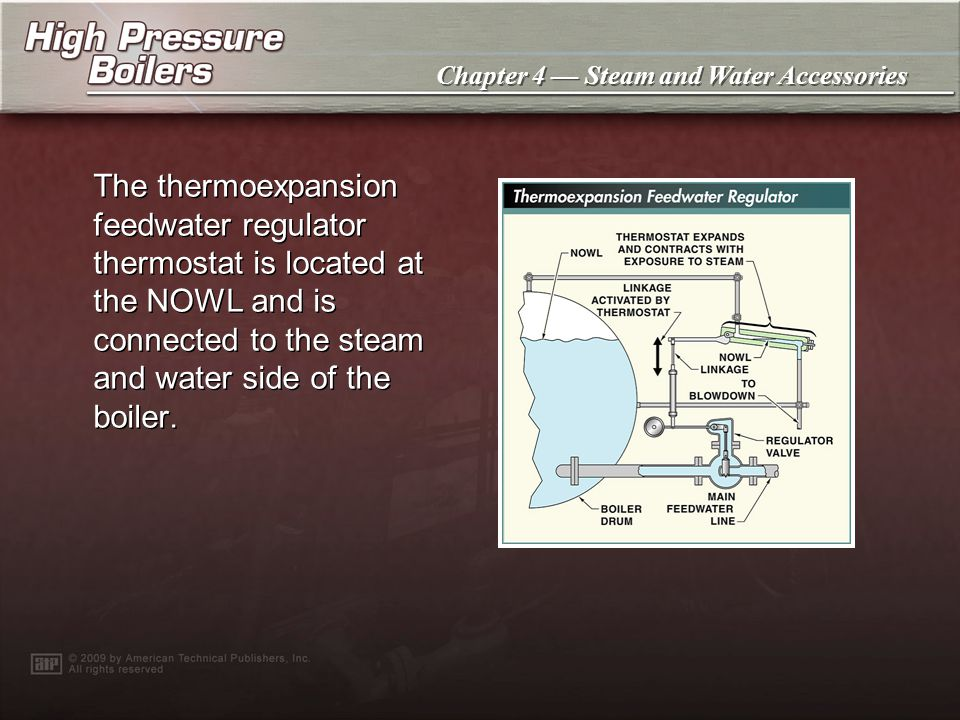 The thermoexpansion feedwater regulator thermostat is located at the NOWL and is connected to the steam and water side of the boiler.