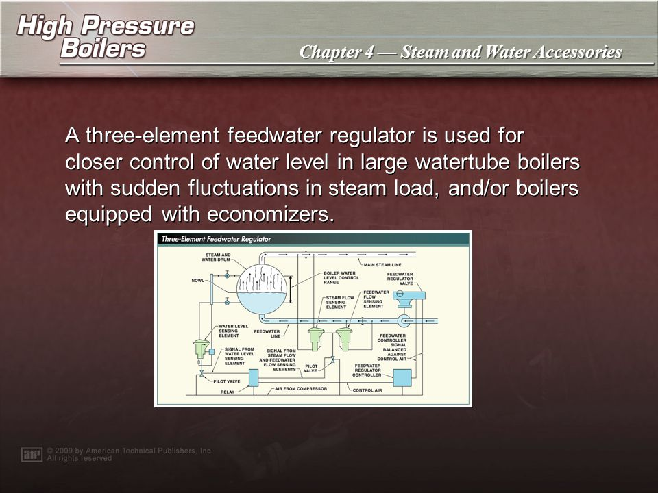 A three-element feedwater regulator is used for closer control of water level in large watertube boilers with sudden fluctuations in steam load, and/or boilers equipped with economizers.